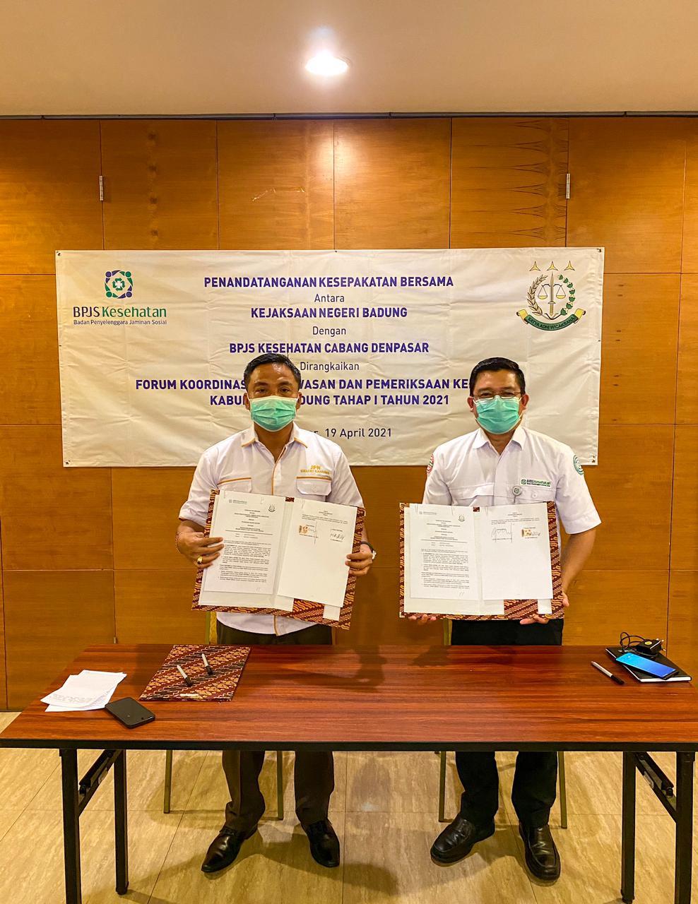 Penandatanganan Kesepakatan Bersama Kejaksaan Negeri Badung dengan BPJS Kesehatan Cabang Denpasar